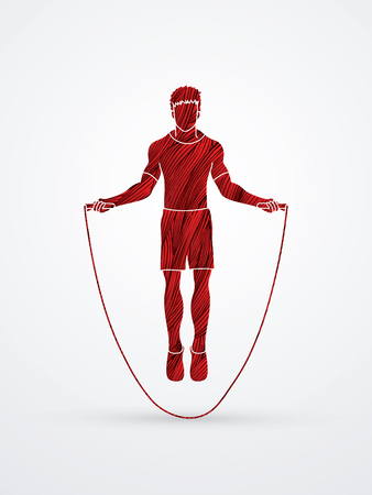 Sport man jumping rope designed using red grunge brush graphic vector.