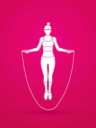 Sport girl jumping rope graphic vector.