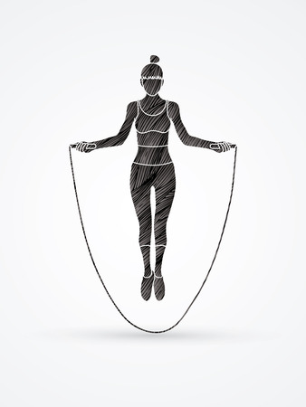 black youth: Sport girl jumping rope designed using black grunge brush graphic vector.
