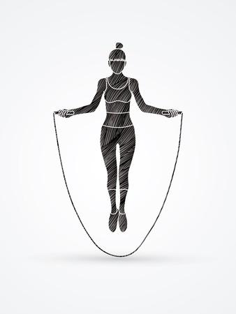 Sport girl jumping rope designed using black grunge brush graphic vector.