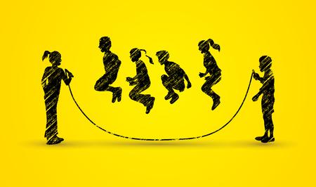 Children Jumping Rope designed using black grunge brush graphic vector