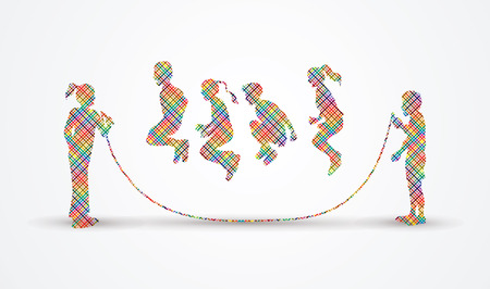 Children Jumping Rope designed using colorful pixels graphic vector