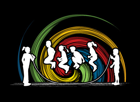 spin: Children Jumping Rope designed on spin wheel background graphic vector