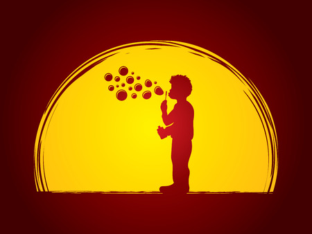 A little boy blowing soap bubbles designed on moonlight background graphic vector. Illustration