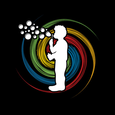 A little boy blowing soap bubbles designed on spin wheel graphic vector.