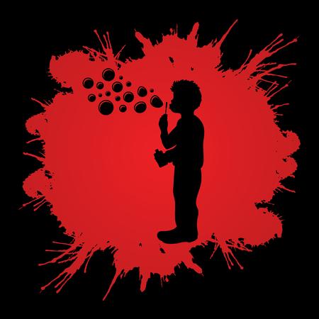 A little boy blowing soap bubbles designed on splash blood graphic vector.