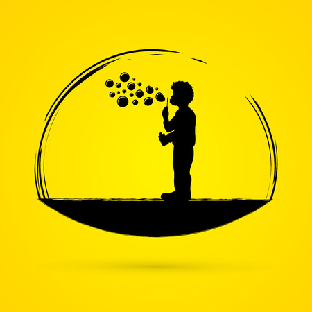 A little boy blowing soap bubbles graphic vector.