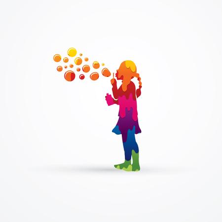 A little girl blowing soap bubbles designed using melt colors graphic vector.
