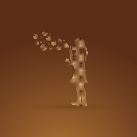 A little girl blowing soap bubbles designed using dots pixels graphic vector.