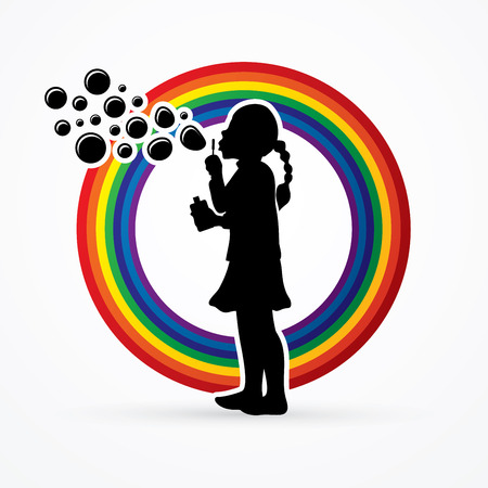 A little girl blowing soap bubbles designed on rainbows background graphic vector.