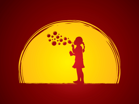 A little girl blowing soap bubbles designed on moonlight background graphic vector. Illustration