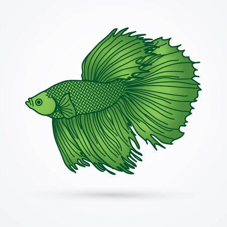 Green Siamese fighter fish graphic vector.