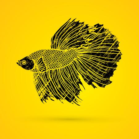Siamese fighter fish designed using black grunge brush graphic vector. Illustration