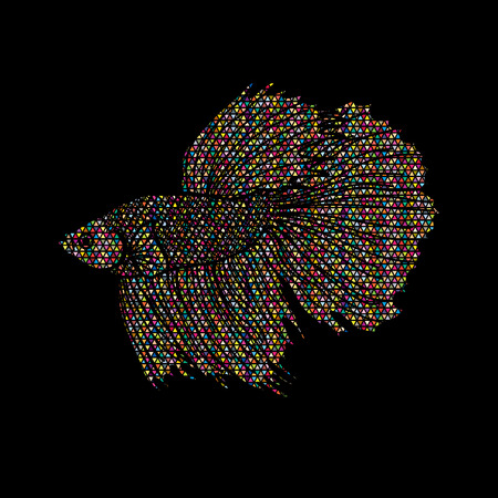 Siamese fighter fish designed using colorful mosaic pattern graphic vector.