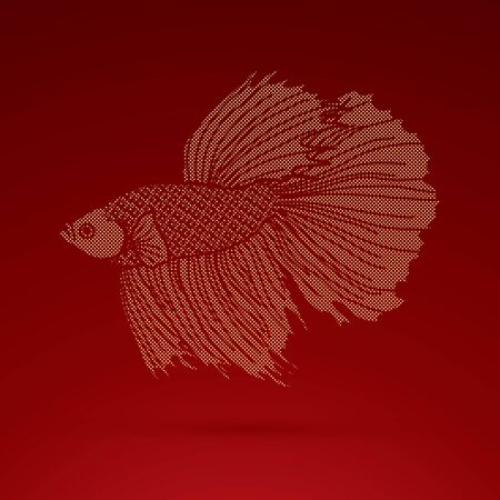 Siamese fighter fish designed using golden dots pattern graphic vector.
