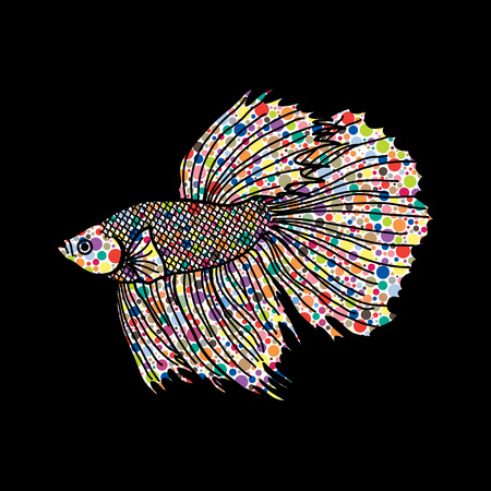 Siamese fighter fish designed using colorful halftone pattern graphic vector.