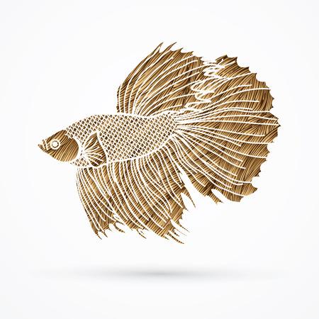 Siamese fighter fish designed using golden grunge brush graphic vector. Illustration