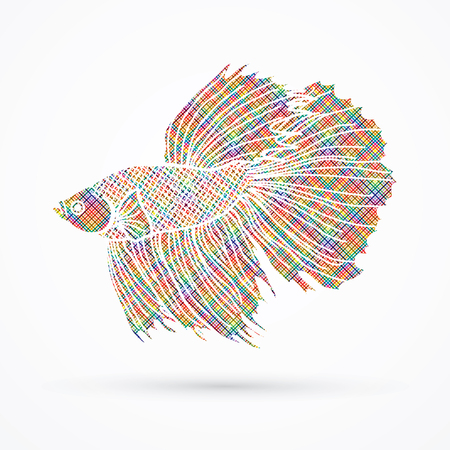 Siamese fighter fish designed using colorful pixels graphic vector.