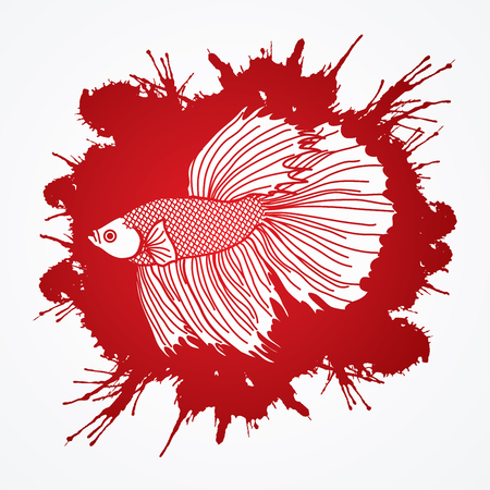 Siamese fighter fish designed on splatter blood background graphic vector.