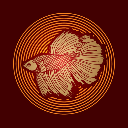 Siamese fighter fish designed on line circle background graphic vector. Illustration