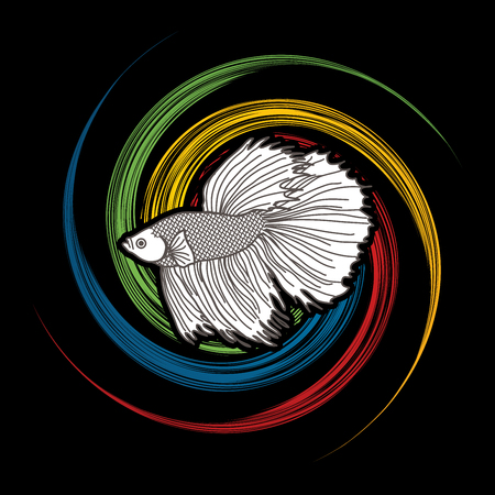 Siamese fighter fish designed on spin wheel background graphic vector. Illustration