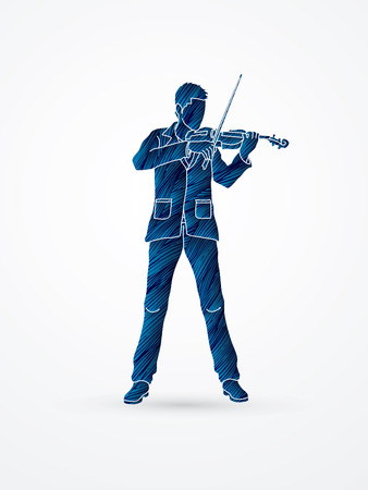 violinist: Violinist playing violin designed using blue grunge brush graphic vector.