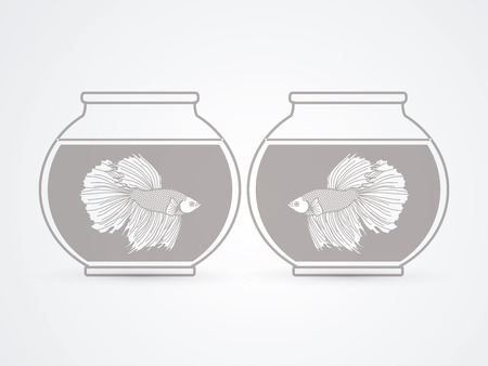 siamese: Siamese fighting fish in glass bowl graphic vector.