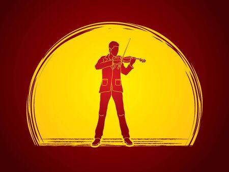 violinista: que toca el violín violinista diseñado luz de la luna en el fondo del gráfico de vector. Vectores