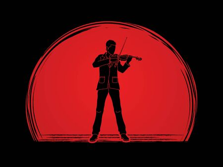 violinist: Violinist playing violin designed on sunrise background graphic vector.