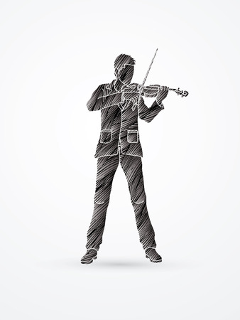violinist: Violinist playing violin designed using black grunge brush graphic vector. Illustration