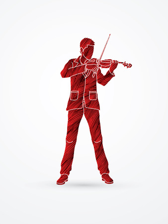 violinist: Violinist playing violin designed using red grunge brush graphic vector.