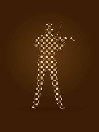 violinist: Violinist playing violin designed using dots pixels graphic vector.
