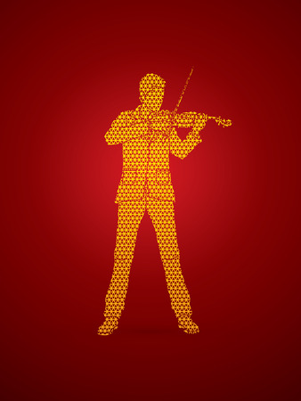 violinist: Violinist playing violin designed using geometric pattern graphic vector.