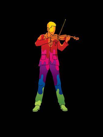 violinista: Violinista tocando el violín diseñado utilizando colorido gráfico vectorial fusión.