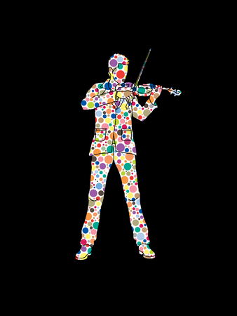 violinist: Violinist playing violin designed using colorful halftone pattern graphic vector.
