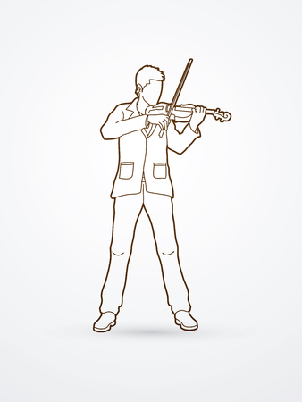 violinist: Violinist playing violin outline graphic vector.