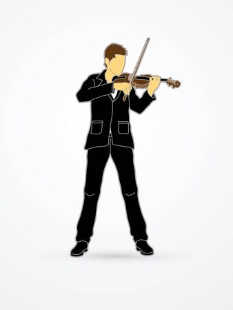 Violinist playing violin graphic vector.