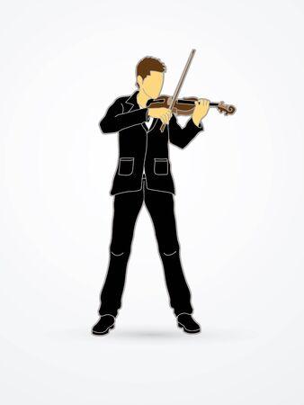 violinista: Violinista tocando el violín gráfico vectorial. Vectores
