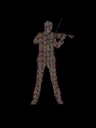 violinist: Violinist playing violin designed using colorful mosaic pattern graphic vector.