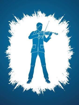 violinist: Violinist  playing violin designed on grunge frame background graphic vector.
