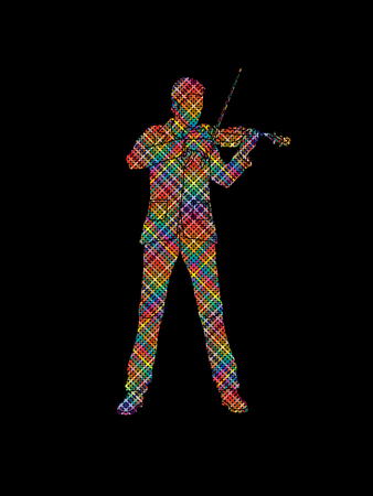 violinist: Violinist playing violin designed using colorful pixels graphic vector.