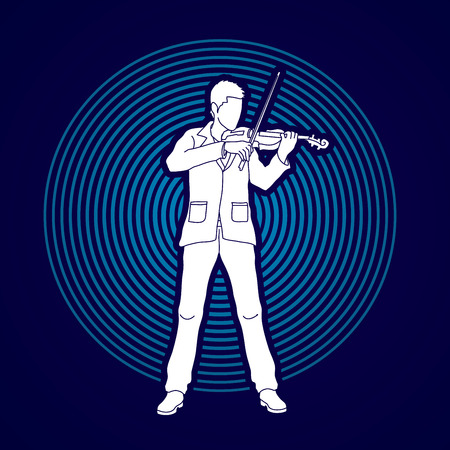 Violinist  playing violin designed on line circle background graphic vector.