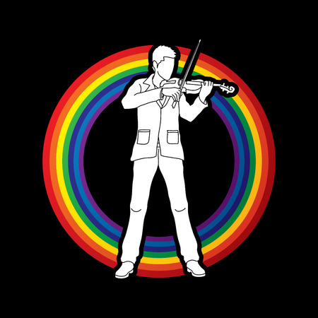 violinist: Violinist  playing violin designed on line rainbows background graphic vector.
