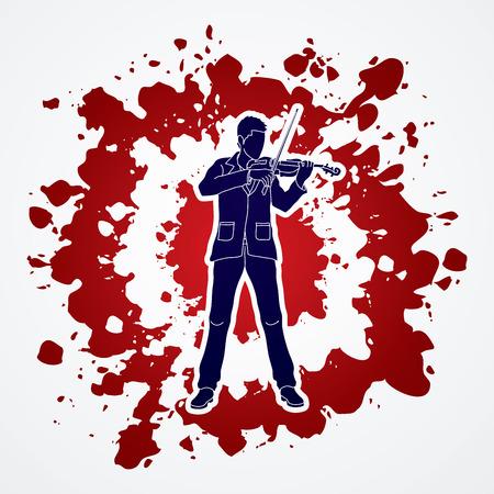 violinist: Violinist  playing violin designed on splash blood background graphic vector.
