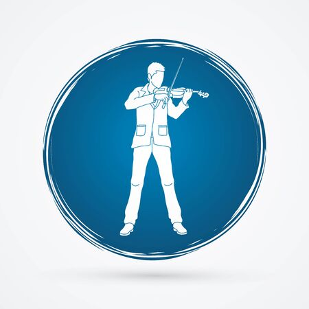 Violinist  playing violin designed on grunge circle background graphic vector.