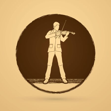 violinist: Violinist  playing violin designed on grunge circle background graphic vector.