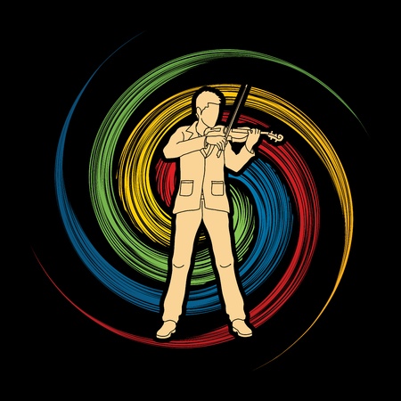 Violinist  playing violin designed on spin wheel background graphic vector.