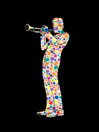perform: Trumpeter playing trumpet designed using colorful halftone pattern graphic vector.