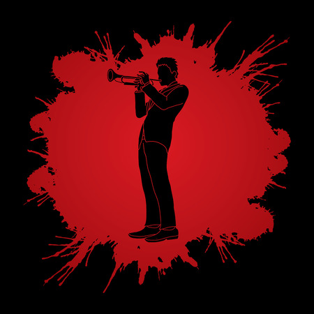 Trumpeter playing trumpet designed on splatter color background graphic vector.
