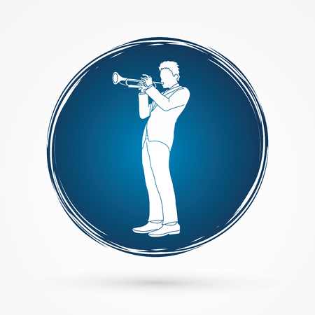 cycle suit: Trumpeter playing trumpet designed on grunge circle background graphic vector. Illustration